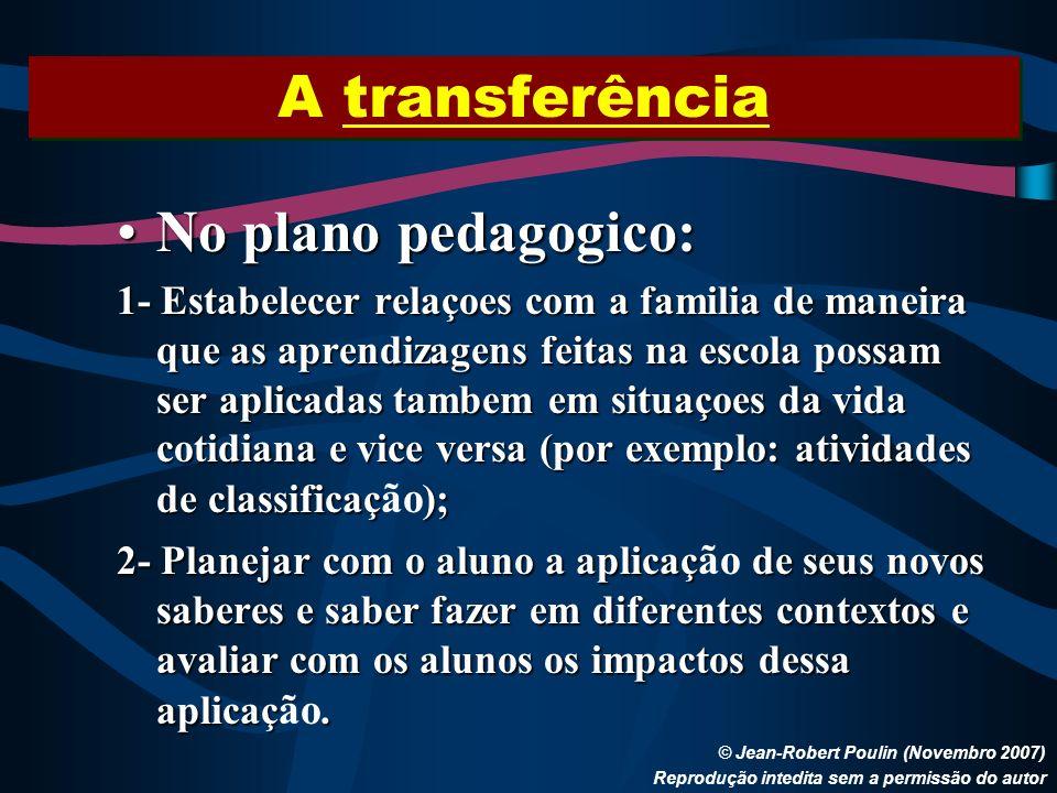 A transferência © Jean-Robert Poulin (Novembro 2007) Reprodução intedita sem a permissão do autor No plano pedagogico:No plano pedagogico: 1- Estabele