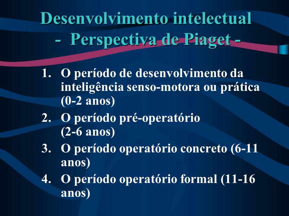 1.O período de desenvolvimento da inteligência senso-motora ou prática (0-2 anos) 2.O período pré-operatório (2-6 anos) 3.O período operatório concret