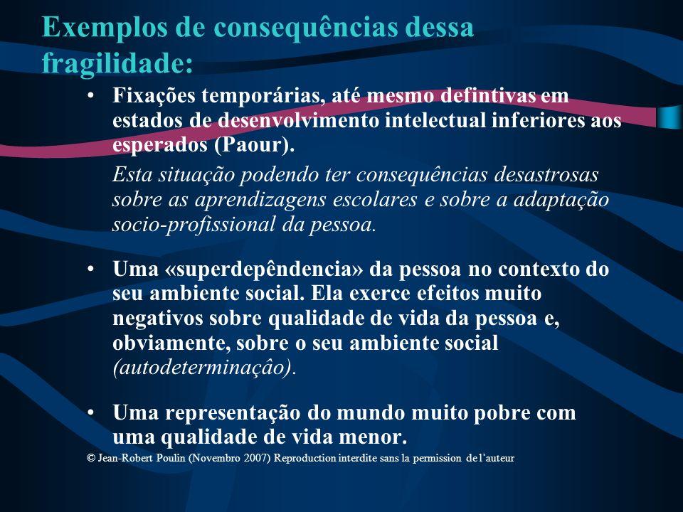 Exemplos de consequências dessa fragilidade: Fixações temporárias, até mesmo defintivas em estados de desenvolvimento intelectual inferiores aos esper