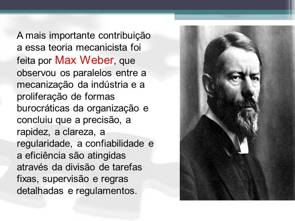 A mais importante contribuição a essa teoria mecanicista foi feita por Max Weber, que observou os paralelos entre a mecanização da indústria e a proli