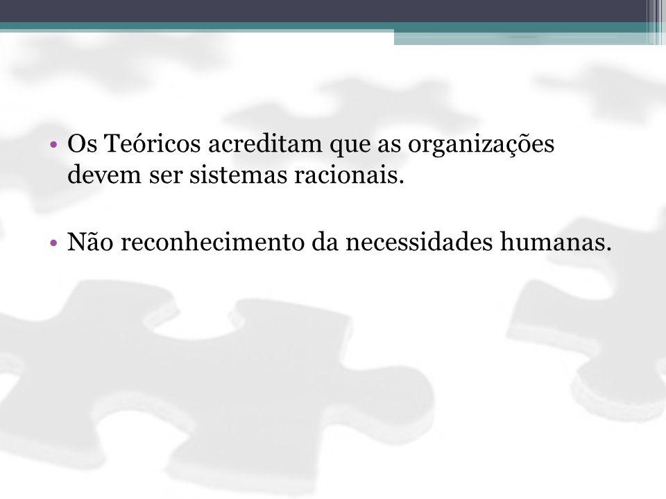 Os Teóricos acreditam que as organizações devem ser sistemas racionais. Não reconhecimento da necessidades humanas.