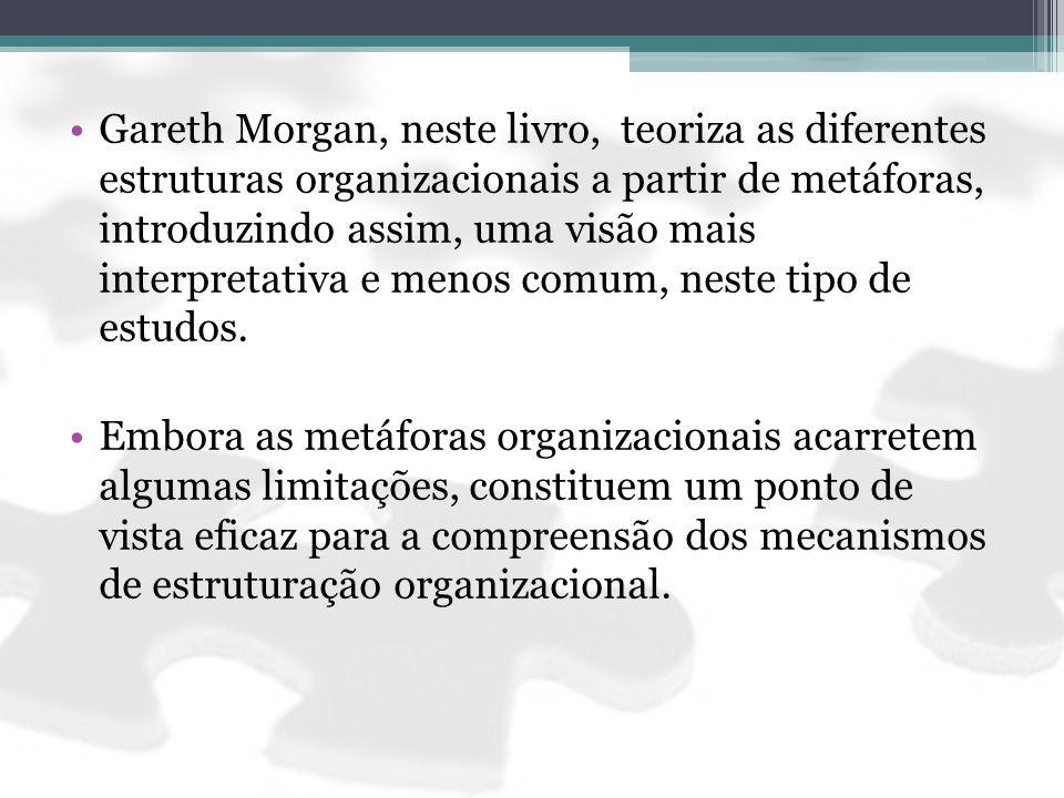 Gareth Morgan, neste livro, teoriza as diferentes estruturas organizacionais a partir de metáforas, introduzindo assim, uma visão mais interpretativa