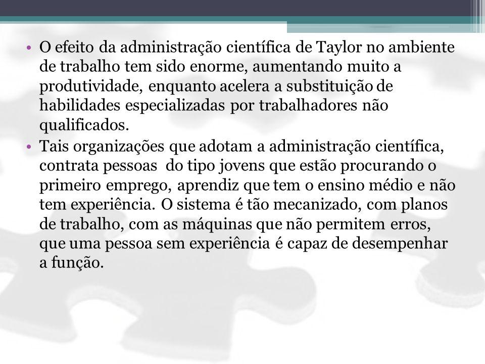 O efeito da administração científica de Taylor no ambiente de trabalho tem sido enorme, aumentando muito a produtividade, enquanto acelera a substitui