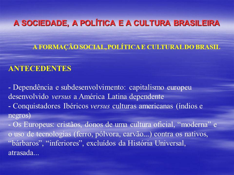 A SOCIEDADE, A POLÍTICA E A CULTURA BRASILEIRA A FORMAÇÃO SOCIAL, POLÍTICA E CULTURAL DO BRASIL ANTECEDENTES - Dependência e subdesenvolvimento: capit