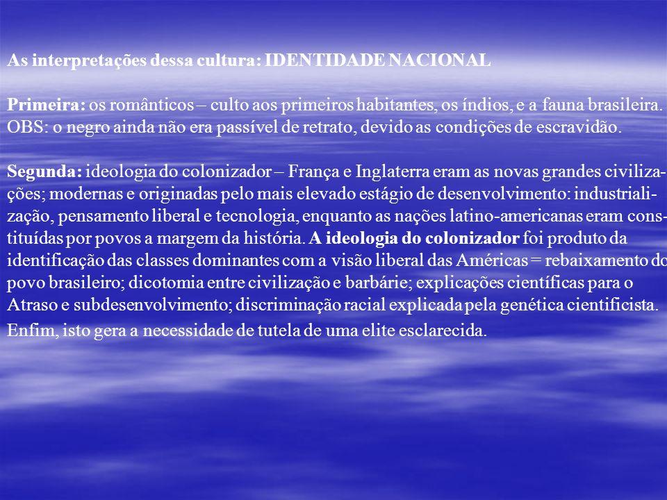 As interpretações dessa cultura: IDENTIDADE NACIONAL Primeira: os românticos – culto aos primeiros habitantes, os índios, e a fauna brasileira. OBS: o