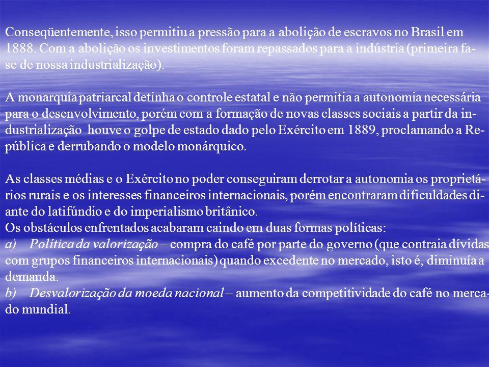 Conseqüentemente, isso permitiu a pressão para a abolição de escravos no Brasil em 1888. Com a abolição os investimentos foram repassados para a indús