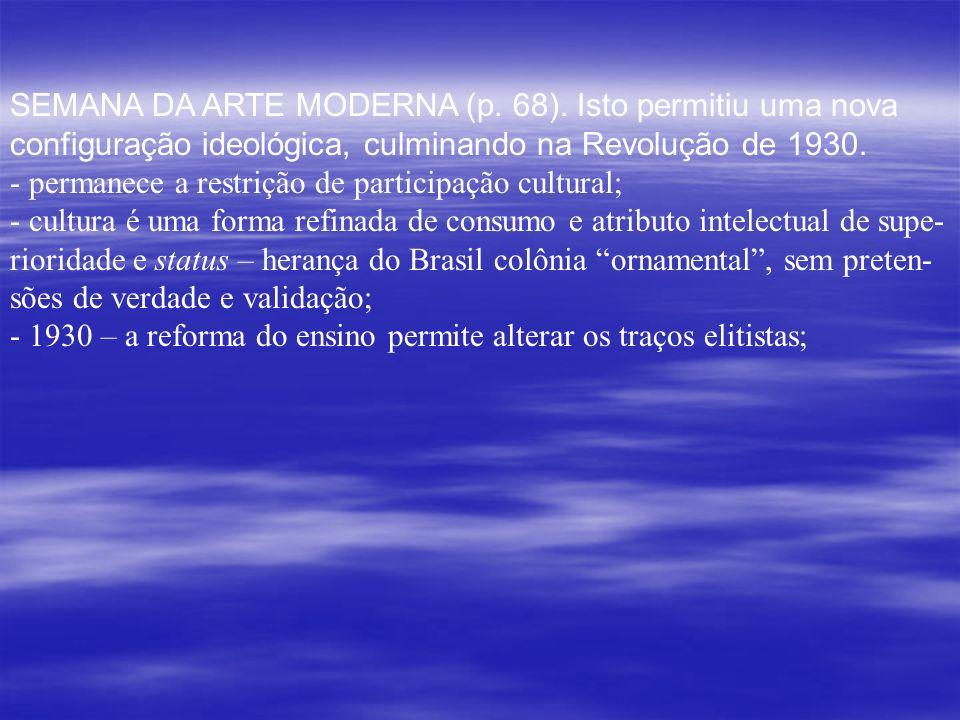SEMANA DA ARTE MODERNA (p. 68). Isto permitiu uma nova configuração ideológica, culminando na Revolução de 1930. - permanece a restrição de participaç