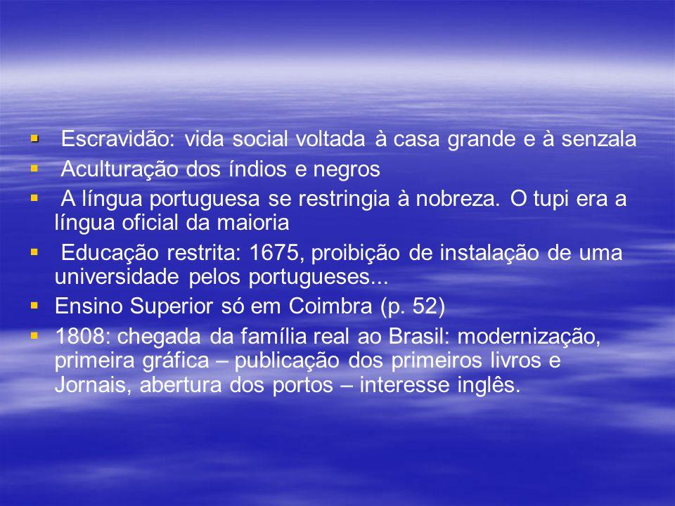 Escravidão: vida social voltada à casa grande e à senzala Aculturação dos índios e negros A língua portuguesa se restringia à nobreza. O tupi era a lí