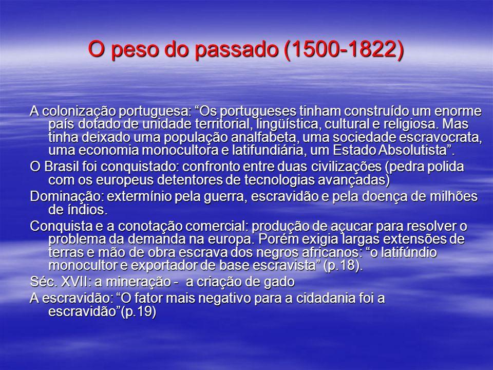 O peso do passado (1500-1822) A colonização portuguesa: Os portugueses tinham construído um enorme país dotado de unidade territorial, lingüística, cu