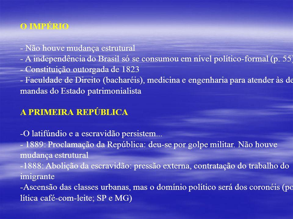 O IMPÉRIO - Não houve mudança estrutural - A independência do Brasil só se consumou em nível político-formal (p. 55) - Constituição outorgada de 1823
