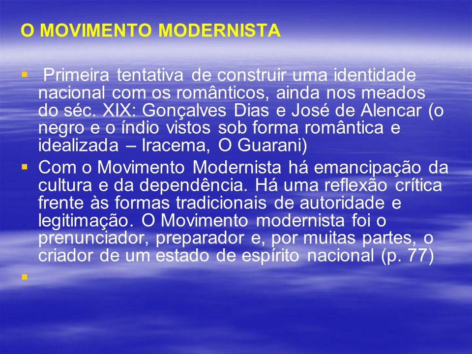 O MOVIMENTO MODERNISTA Primeira tentativa de construir uma identidade nacional com os românticos, ainda nos meados do séc. XIX: Gonçalves Dias e José