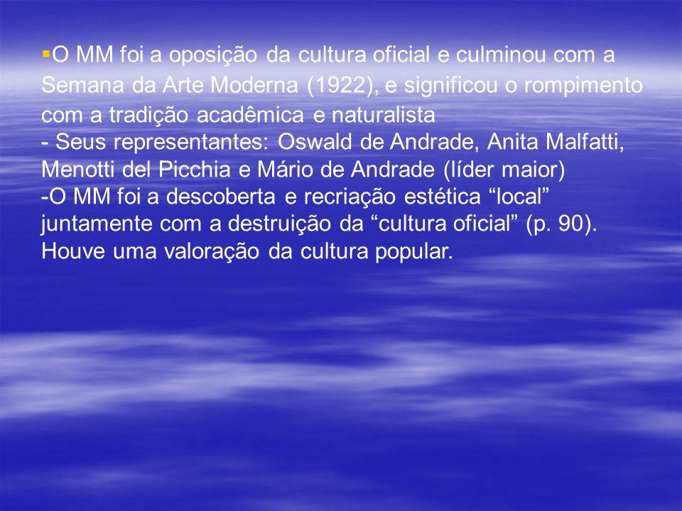O MM foi a oposição da cultura oficial e culminou com a Semana da Arte Moderna (1922), e significou o rompimento com a tradição acadêmica e naturalist