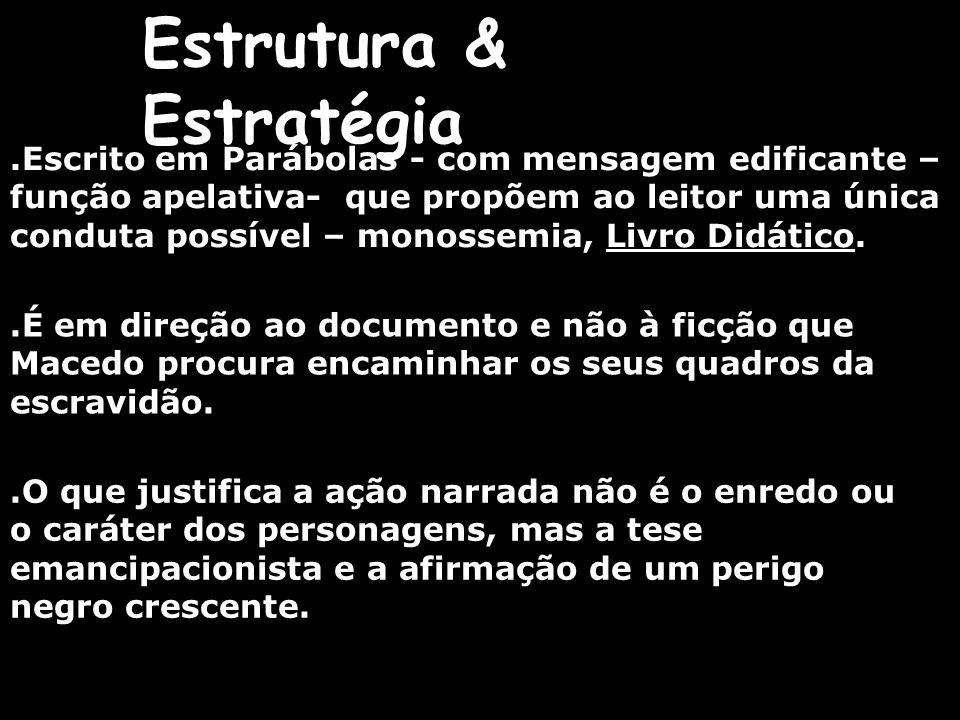 Estrutura & Estratégia.Escrito em Parábolas - com mensagem edificante – função apelativa- que propõem ao leitor uma única conduta possível – monossemi