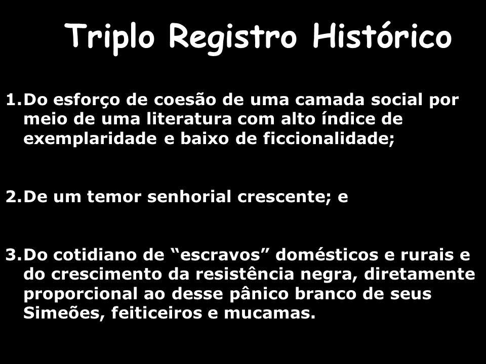 Triplo Registro Histórico 1.Do esforço de coesão de uma camada social por meio de uma literatura com alto índice de exemplaridade e baixo de ficcional