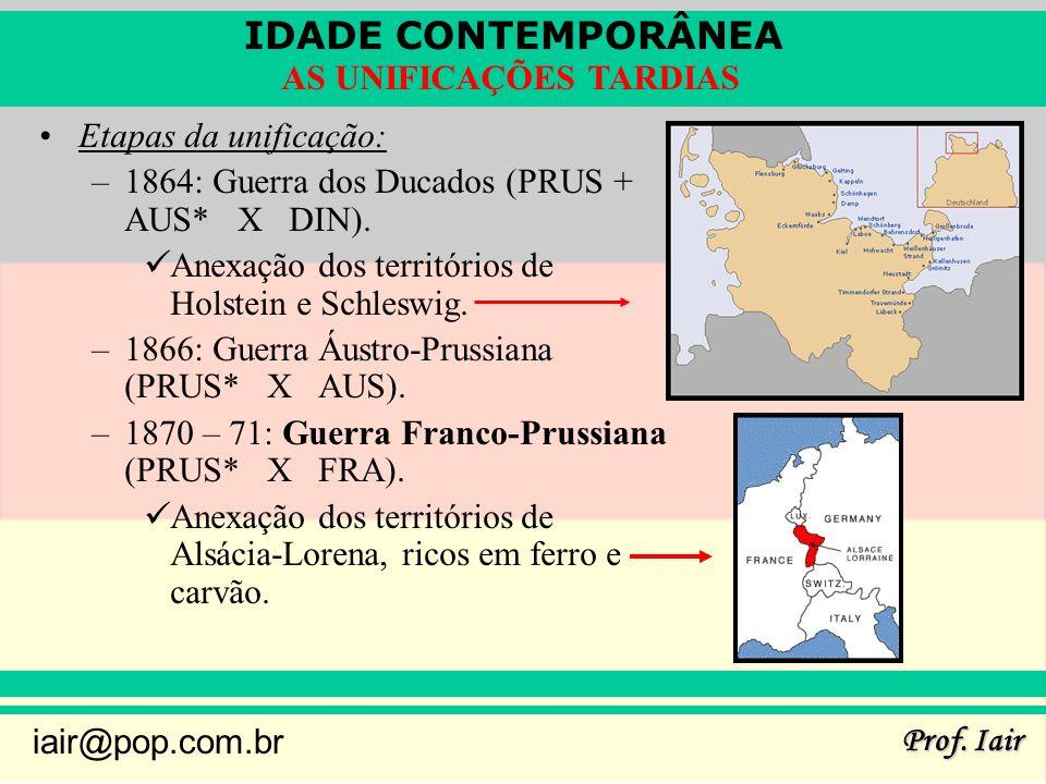 IDADE CONTEMPORÂNEA Prof. Iair iair@pop.com.br AS UNIFICAÇÕES TARDIAS Etapas da unificação: –1864: Guerra dos Ducados (PRUS + AUS* X DIN). Anexação do