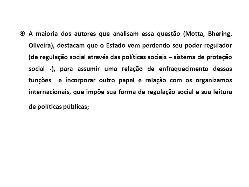 A maioria dos autores que analisam essa questão (Motta, Bhering, Oliveira), destacam que o Estado vem perdendo seu poder regulador (de regulação socia