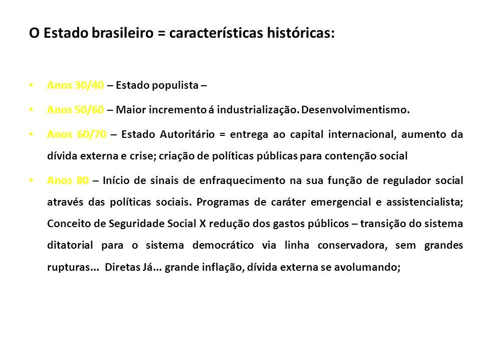 O Estado brasileiro = características históricas: Anos 30/40 – Estado populista – Anos 50/60 – Maior incremento á industrialização. Desenvolvimentismo