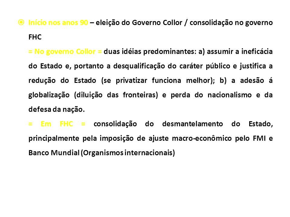 Início nos anos 90 – eleição do Governo Collor / consolidação no governo FHC = No governo Collor = duas idéias predominantes: a) assumir a ineficácia