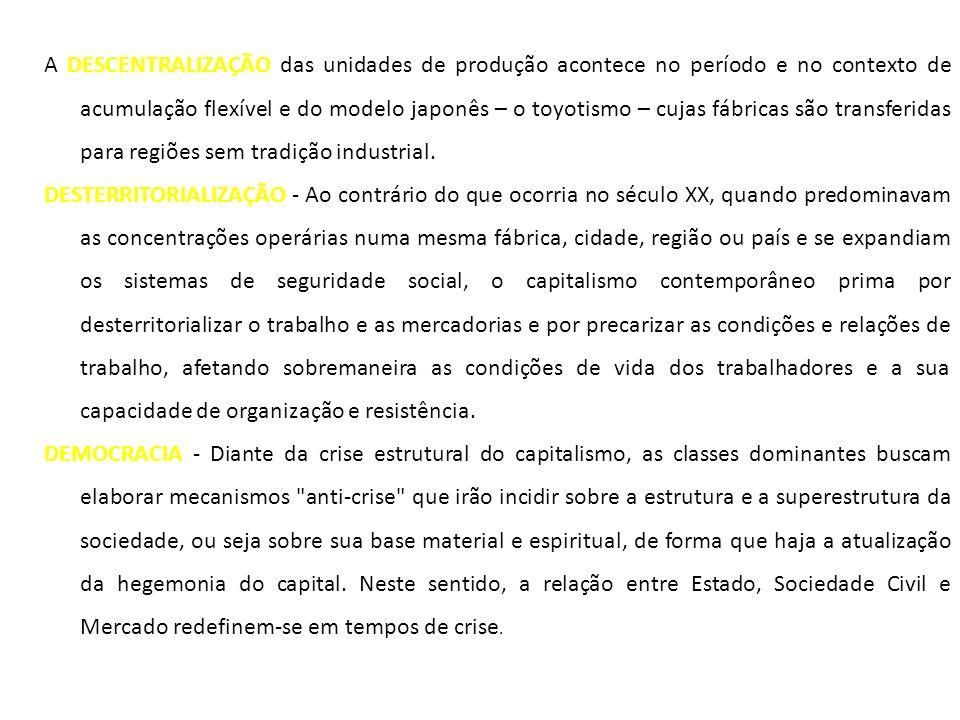 A DESCENTRALIZAÇÃO das unidades de produção acontece no período e no contexto de acumulação flexível e do modelo japonês – o toyotismo – cujas fábrica