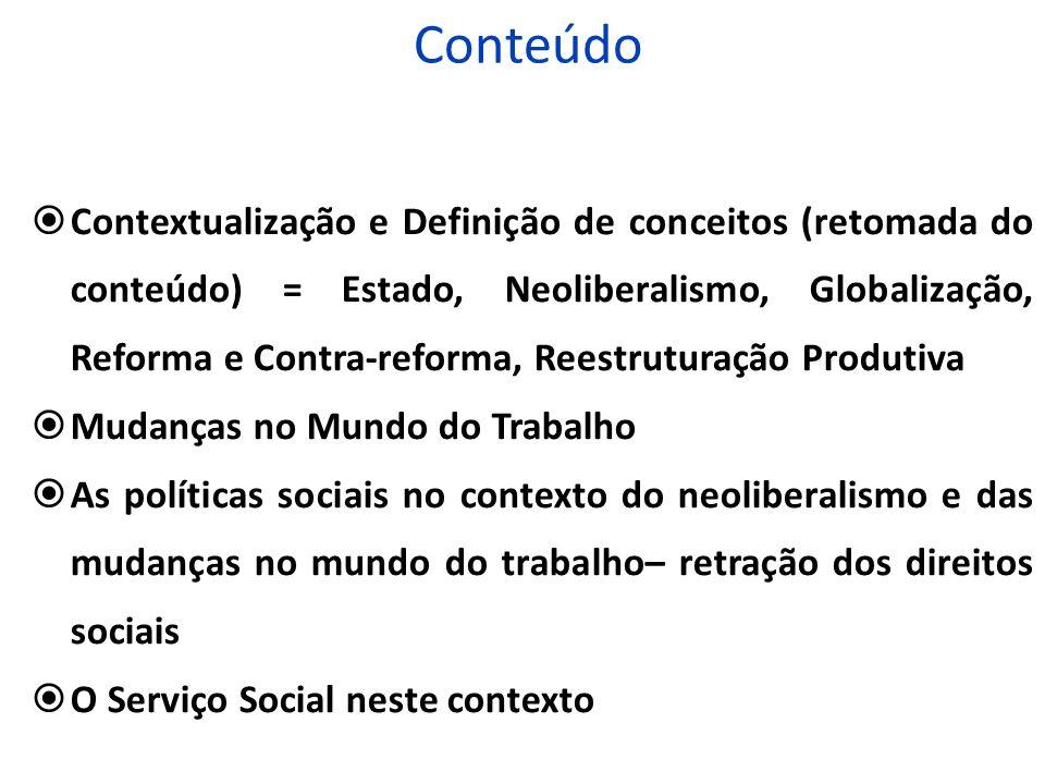Conteúdo Contextualização e Definição de conceitos (retomada do conteúdo) = Estado, Neoliberalismo, Globalização, Reforma e Contra-reforma, Reestrutur