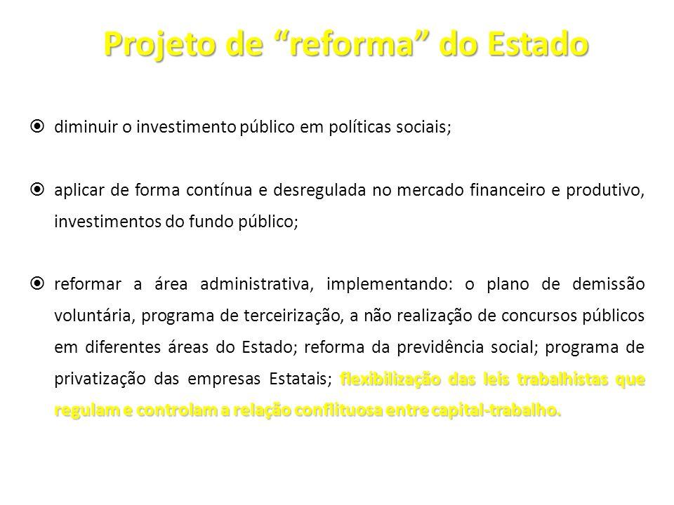 Projeto de reforma do Estado diminuir o investimento público em políticas sociais; aplicar de forma contínua e desregulada no mercado financeiro e pro