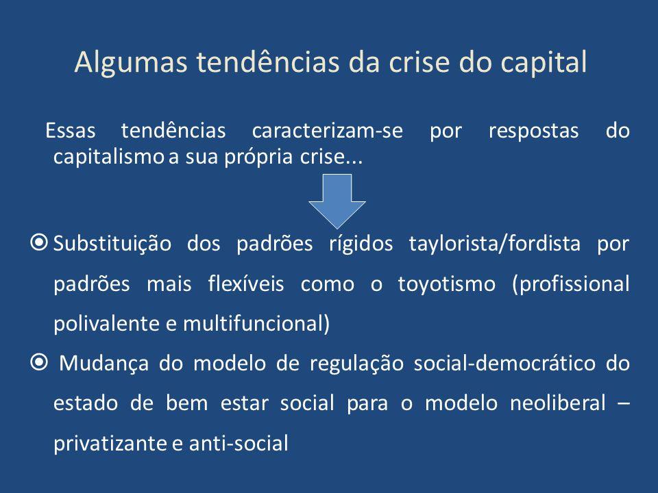 Algumas tendências da crise do capital Essas tendências caracterizam-se por respostas do capitalismo a sua própria crise... Substituição dos padrões r
