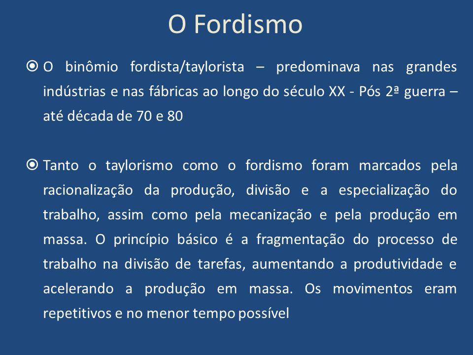 O Fordismo O binômio fordista/taylorista – predominava nas grandes indústrias e nas fábricas ao longo do século XX - Pós 2ª guerra – até década de 70