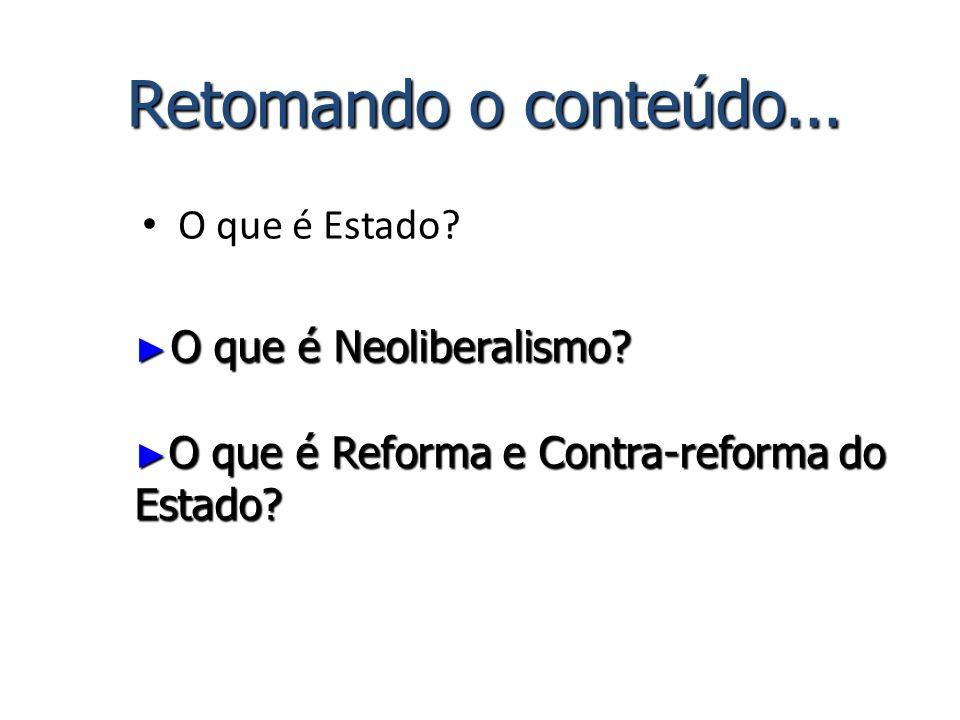 O que é Estado? Retomando o conteúdo... O que é Neoliberalismo? O que é Neoliberalismo? O que é Reforma e Contra-reforma do Estado? O que é Reforma e