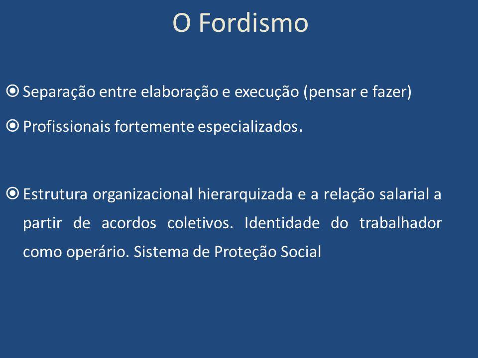 O Fordismo Separação entre elaboração e execução (pensar e fazer) Profissionais fortemente especializados. Estrutura organizacional hierarquizada e a