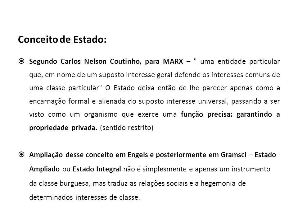 Conceito de Estado: Segundo Carlos Nelson Coutinho, para MARX –