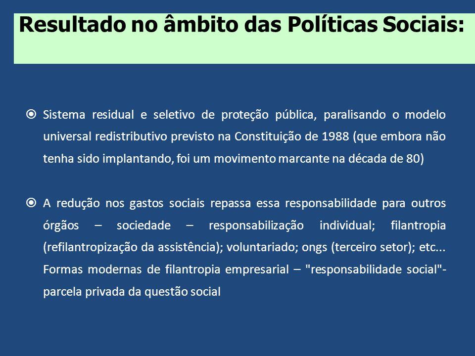 Sistema residual e seletivo de proteção pública, paralisando o modelo universal redistributivo previsto na Constituição de 1988 (que embora não tenha