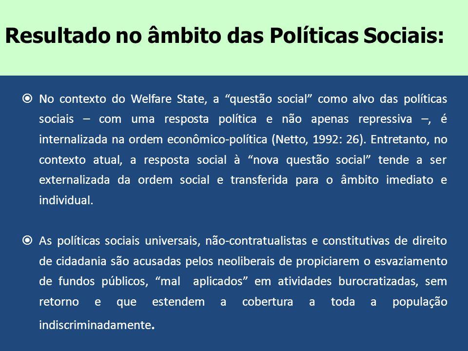 No contexto do Welfare State, a questão social como alvo das políticas sociais – com uma resposta política e não apenas repressiva –, é internalizada