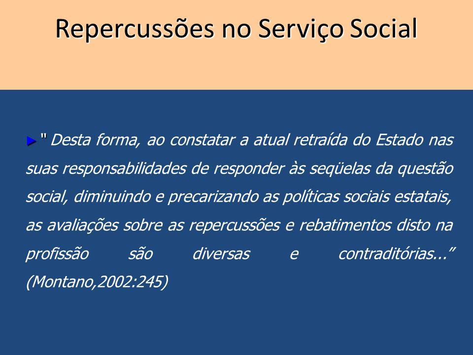 Repercussões no Serviço Social Desta forma, ao constatar a atual retraída do Estado nas suas responsabilidades de responder às seqüelas da questão soc
