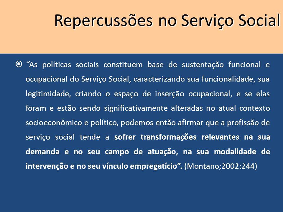 As políticas sociais constituem base de sustentação funcional e ocupacional do Serviço Social, caracterizando sua funcionalidade, sua legitimidade, cr