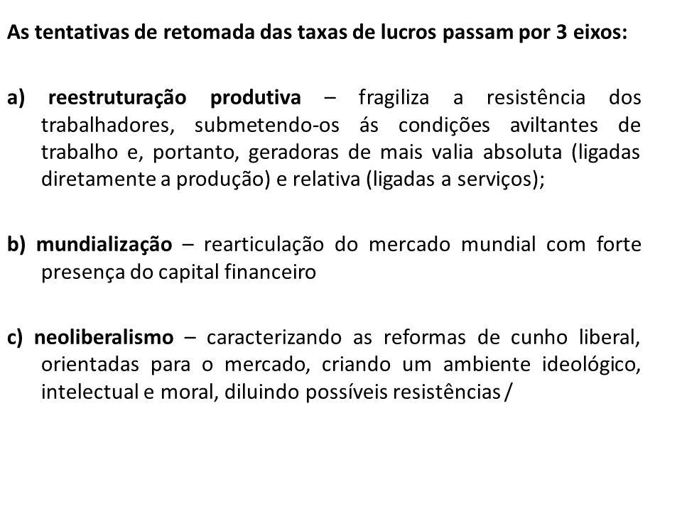 As tentativas de retomada das taxas de lucros passam por 3 eixos: a) reestruturação produtiva – fragiliza a resistência dos trabalhadores, submetendo-