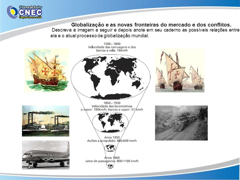 Globalização e as novas fronteiras do mercado e dos conflitos. Descreva a imagem a seguir e depois anote em seu caderno as possíveis relações entre el