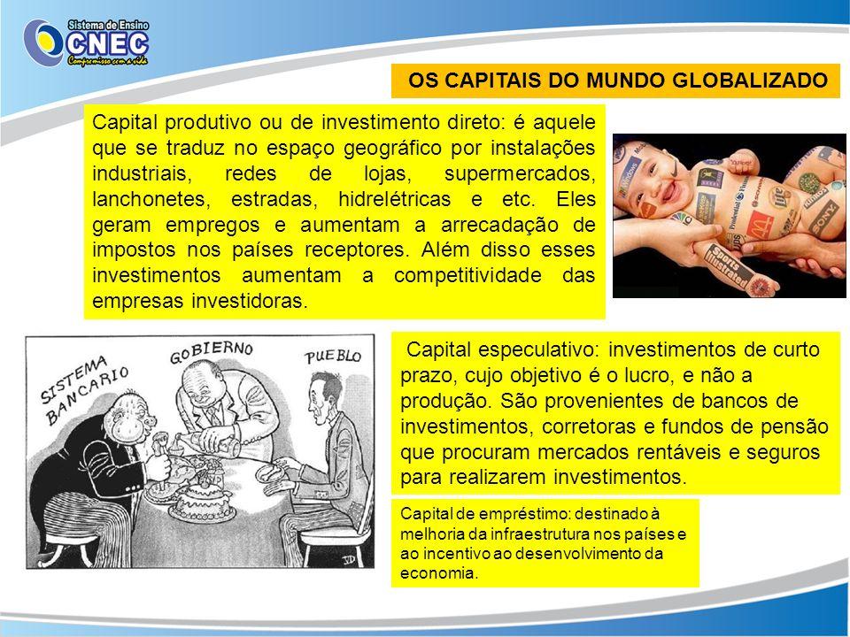 OS CAPITAIS DO MUNDO GLOBALIZADO Capital produtivo ou de investimento direto: é aquele que se traduz no espaço geográfico por instalações industriais,