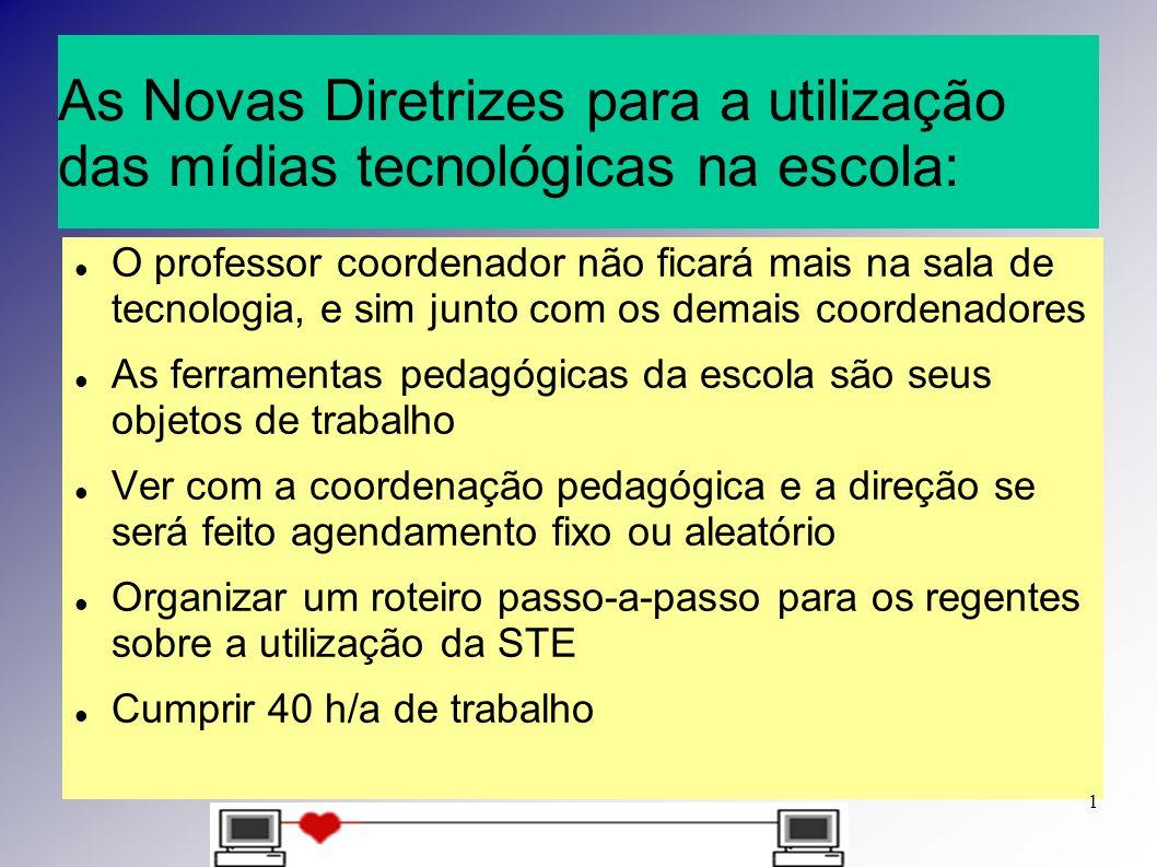 As Novas Diretrizes para a utilização das mídias tecnológicas na escola: O professor coordenador não ficará mais na sala de tecnologia, e sim junto co
