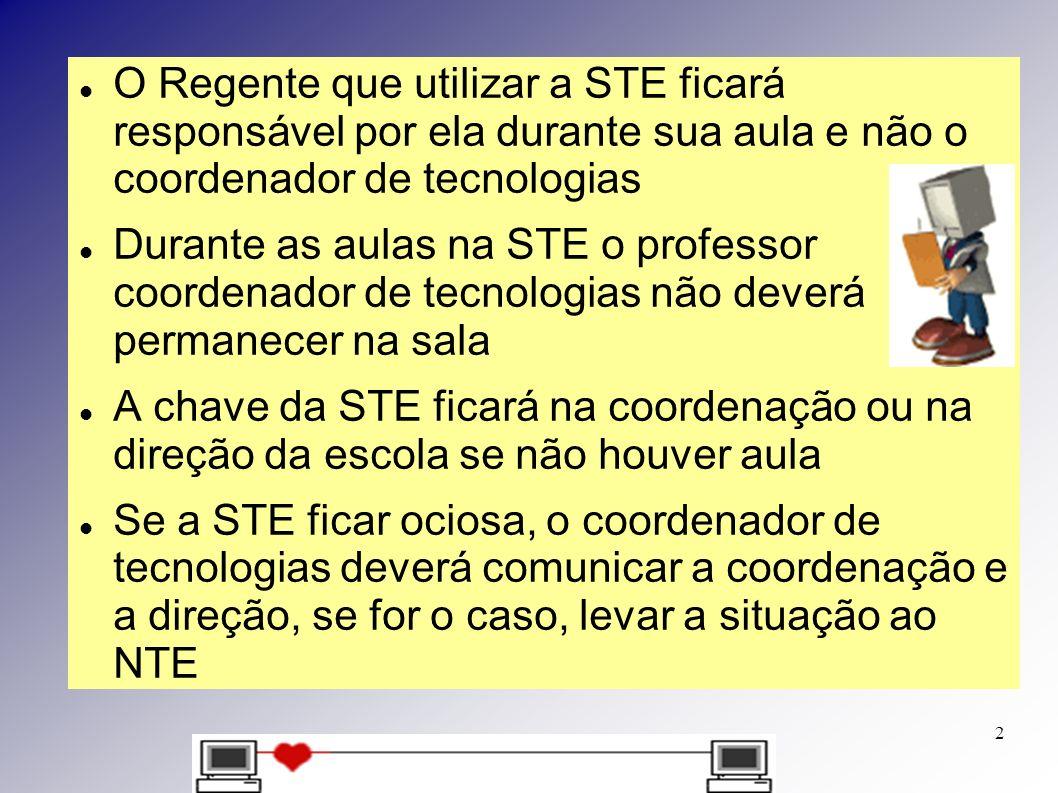 O Regente que utilizar a STE ficará responsável por ela durante sua aula e não o coordenador de tecnologias Durante as aulas na STE o professor coorde