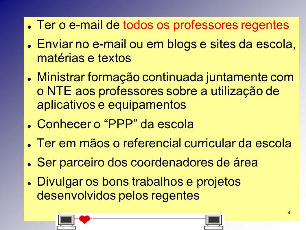 Ter o e-mail de todos os professores regentes Enviar no e-mail ou em blogs e sites da escola, matérias e textos Ministrar formação continuada juntamen