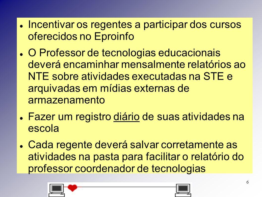 Incentivar os regentes a participar dos cursos oferecidos no Eproinfo O Professor de tecnologias educacionais deverá encaminhar mensalmente relatórios