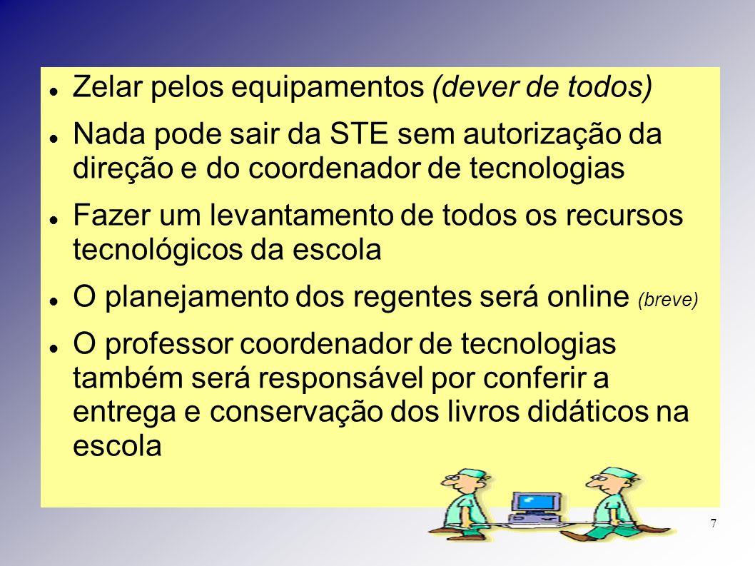 Zelar pelos equipamentos (dever de todos) Nada pode sair da STE sem autorização da direção e do coordenador de tecnologias Fazer um levantamento de to