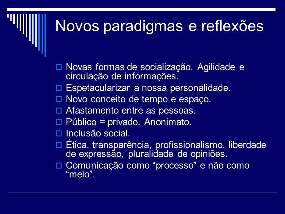 Novos paradigmas e reflexões Novas formas de socialização. Agilidade e circulação de informações. Espetacularizar a nossa personalidade. Novo conceito