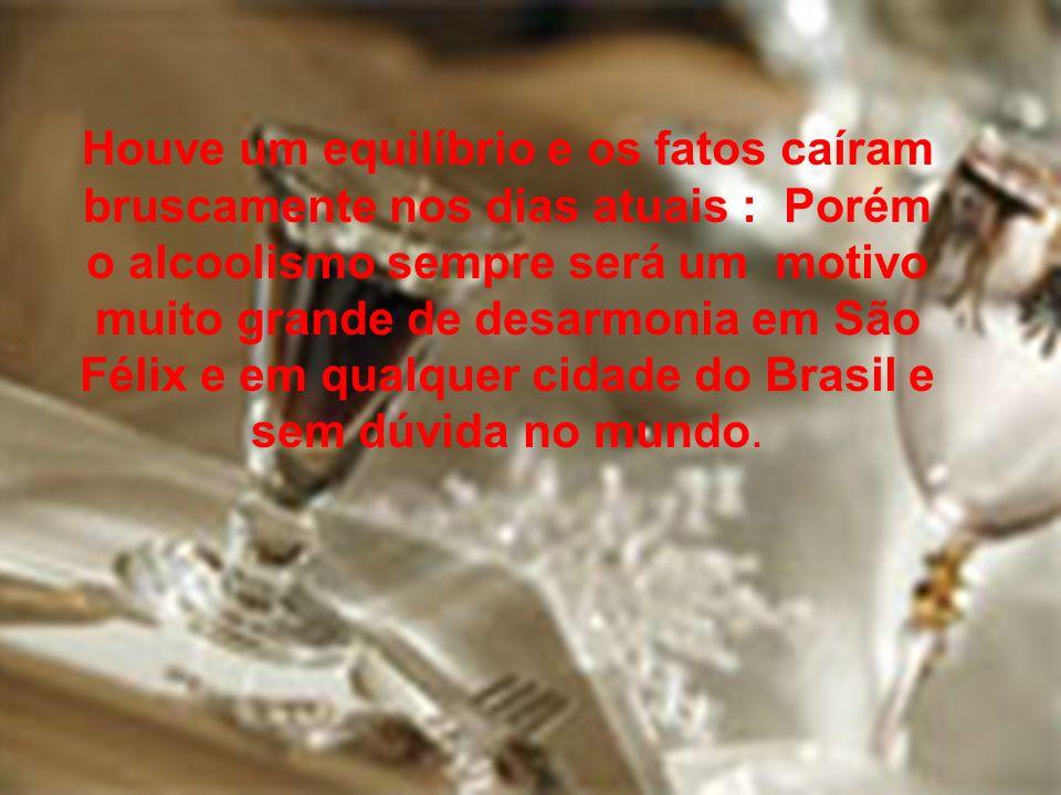 Houve um equilíbrio e os fatos caíram bruscamente nos dias atuais : Porém o alcoolismo sempre será um motivo muito grande de desarmonia em São Félix e