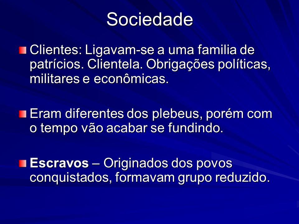 Sociedade Clientes: Ligavam-se a uma familia de patrícios. Clientela. Obrigações políticas, militares e econômicas. Eram diferentes dos plebeus, porém