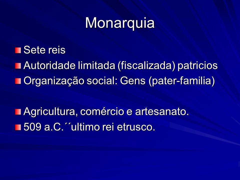 Monarquia Sete reis Autoridade limitada (fiscalizada) patricios Organização social: Gens (pater-familia) Agricultura, comércio e artesanato. 509 a.C.´