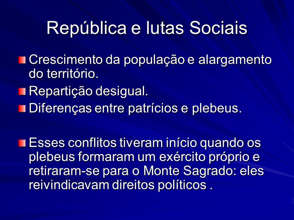 República e lutas Sociais Crescimento da população e alargamento do território. Repartição desigual. Diferenças entre patrícios e plebeus. Esses confl