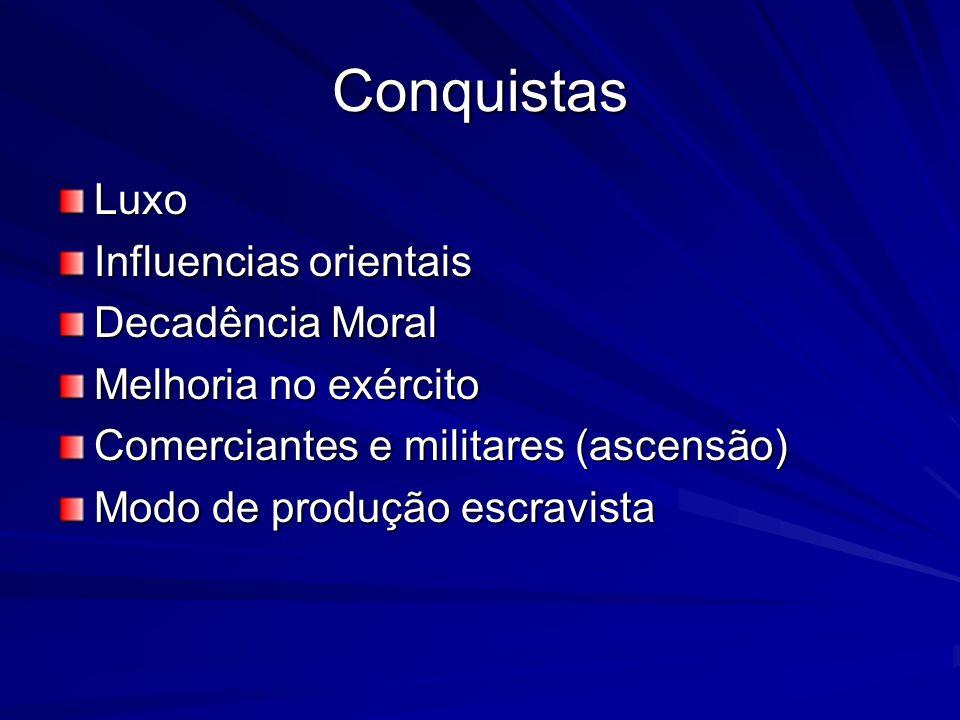 Conquistas Luxo Influencias orientais Decadência Moral Melhoria no exército Comerciantes e militares (ascensão) Modo de produção escravista