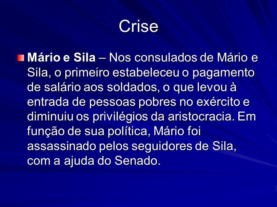 Crise Mário e Sila – Nos consulados de Mário e Sila, o primeiro estabeleceu o pagamento de salário aos soldados, o que levou à entrada de pessoas pobr