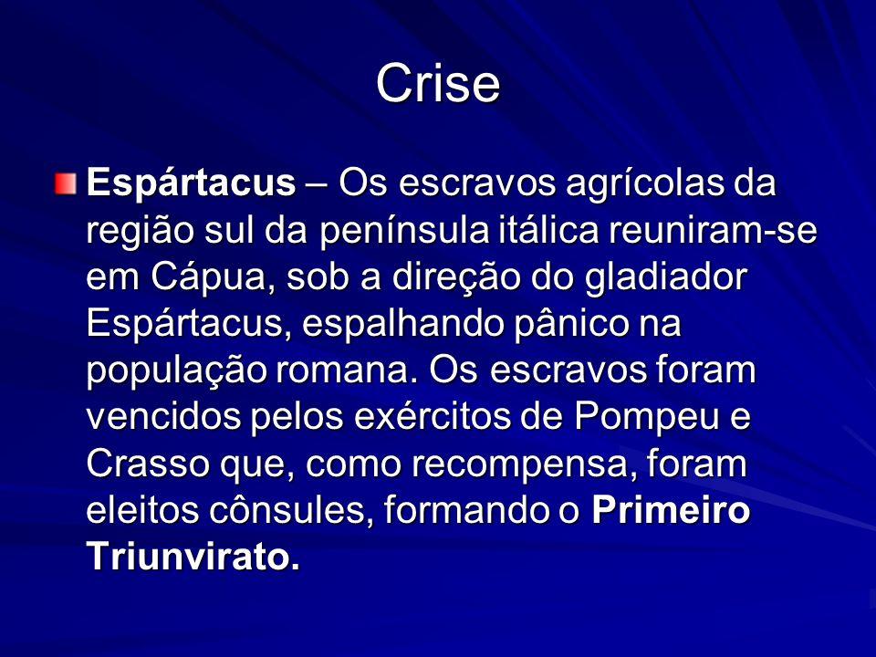 Crise Espártacus – Os escravos agrícolas da região sul da península itálica reuniram-se em Cápua, sob a direção do gladiador Espártacus, espalhando pâ